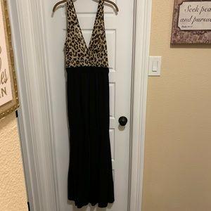 Leopard print and black women's jumpsuit